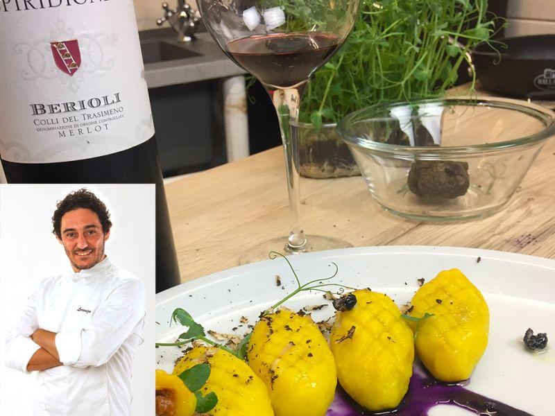 Lorenzo Boni Chef ospite di Cantina Berioli con il nostro Spiridione 2017 - Colli del trasimeno DOC - Vini Umbri